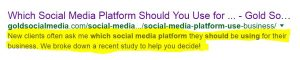 Meta Description Example on Search Result of Social Media Platforms for Business