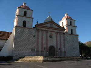 Front view photo of the Santa Barbara Mission