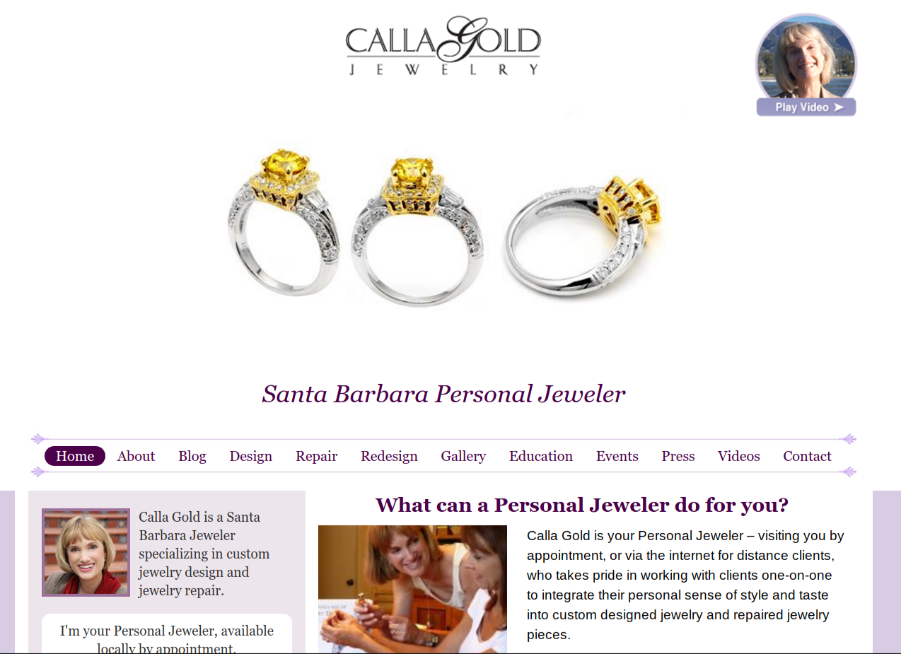 Calla gold jewelry home page